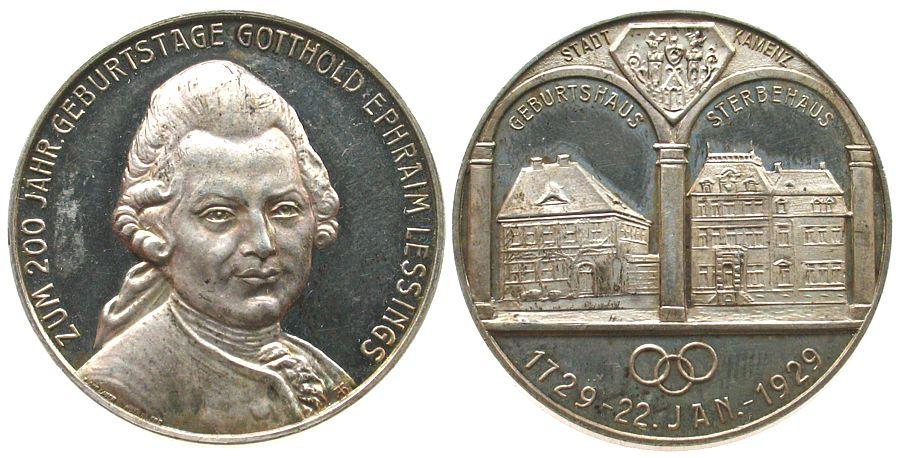 Medaille 1929 Personen Silber Lessing (1729-1781), Kamenz, auf seinen 200. Gebursttag Büste von vorn / Geburts- und Sterbehaus, bei Lauer, ca. 33,4 MM, vz