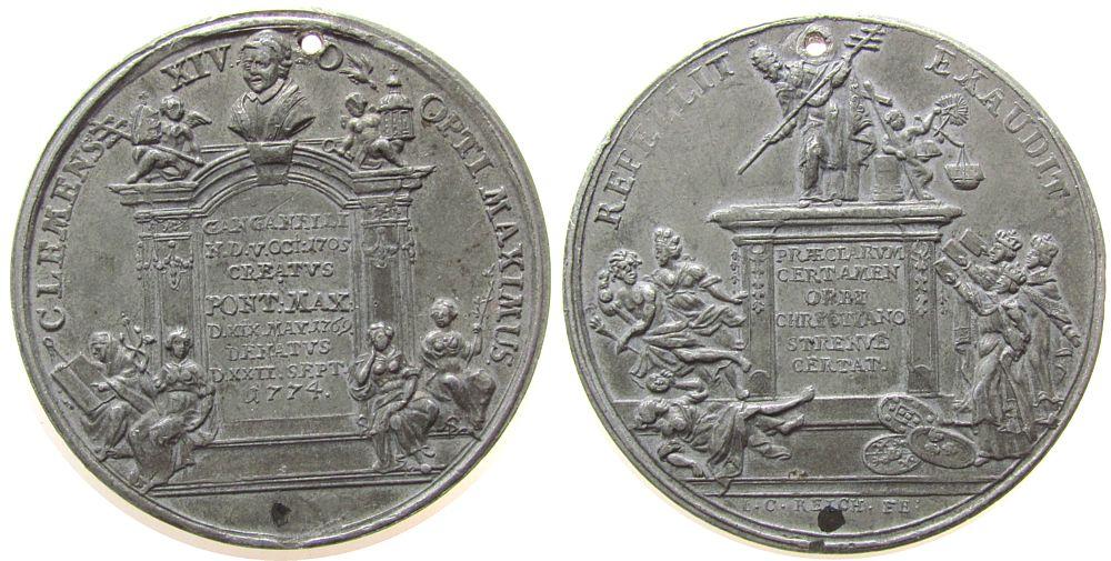 Medaille 1774 Vatikan Zinn Clemens XIV (1769-1774) - auf seinen Tod, beidseitig Grabstätte, v. I.C. Reich, ca. 47,5 MM, gelocht, mit Kupferstift fast vz