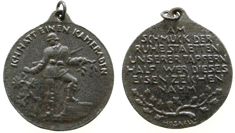 tragbare Medaille o.J. Weimarer Republik Eisenguß Spende für Kriegsgräber, stehender Soldat - Ich hatt einen Kameraden / Mehrzeiler, v. Hosaeus, ca. 33,6 MM ss