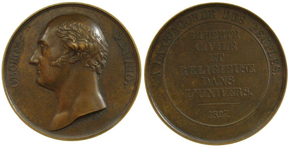 Medaille 1827 Großbritannien Bronze Canning George, Premierminister, auf seinen Tod, v. Galle, ca. 51 MM ss+