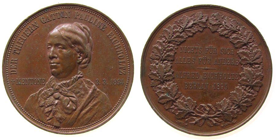 Medaille 1895 Berlin Bronze Eichholtz Pauline - auf Ihren Tod 1894, Brustbild halblinks / Nichts für Sich - Alles für Andere - Alfred Eichholtz - Ber ss