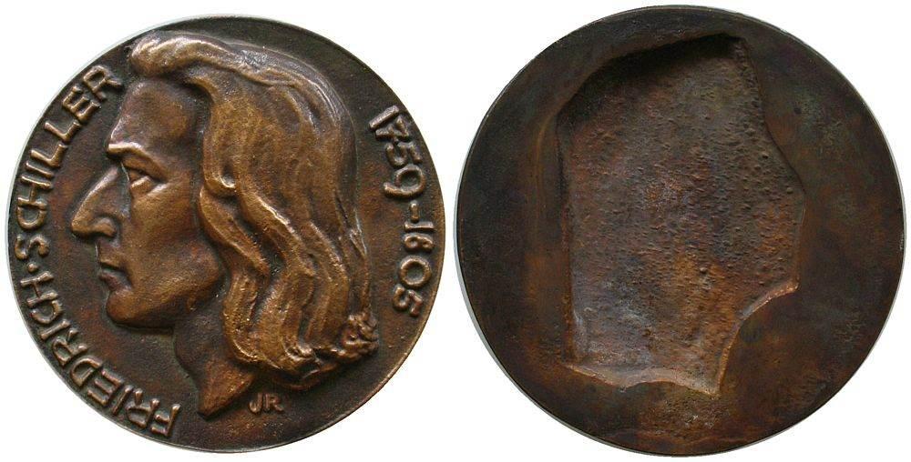 Gußmedaille o.J. Personen Bronzeguß Schiller Friedrich (1759-1805), Signatur: JR, 77 MM vz