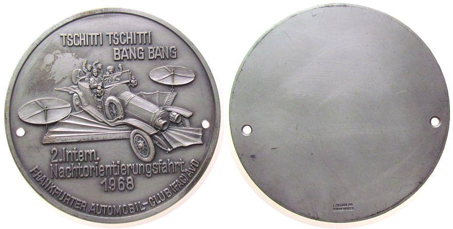 Plakette 1968 Automobile Messing versilbert Frankfurt - 2. Internationale Nachtorientierungsfahrt, das Tschitti Tschitti Bäng-Bäng, ca. 86 MM vz