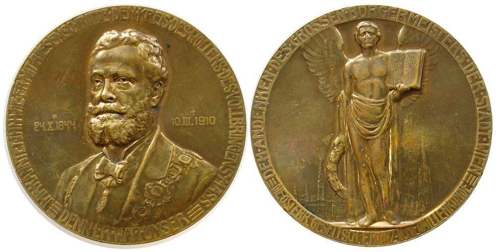 Medaille 1910 Wien Bronze Lueger Karl Dr. (1844 - 1910), von der österr. Gesellschaft für Münz- und Medaillenkunst, auf den Tod des Bürgermeisters ss-vz
