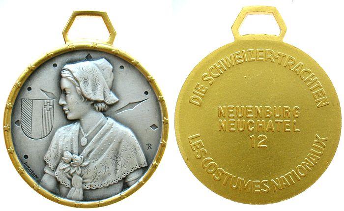tragbare Medaille o.J. Schweiz . Neuenburg - Neuchatel, v. Huguenin, ca. 39 MM vz-stgl
