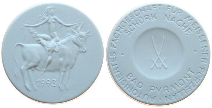 Medaille 1982 Städte Porzellan weiss Bad Pyrmont - Schürk Nachf., ca. 50,2 MM prägefrisch