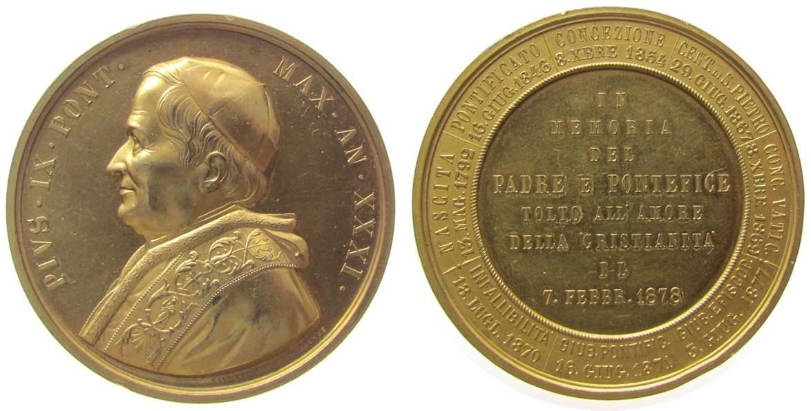 Medaille 1878 Vatikan Bronze vergoldet Pius IX (1846-78) - auf seinen Tod, Brustbild nach links / Mehrzeiler, v. Giov. Vagnetti, ca. 51 MM, zwei Rands vz-stgl