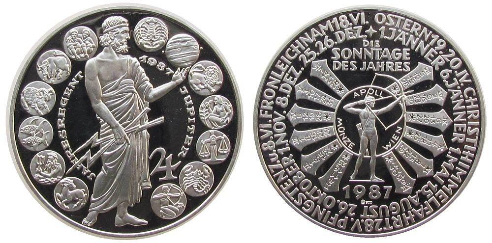 Medaille 1987 Kalendermedaille Silber Jupiter, unsigniert (A.Zierler), ca. 40 MM, ca. 25,76 Gramm, Punze RS: A900 vz-stgl