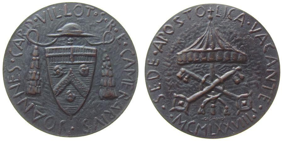 Medaille 1978 Vatikan Bronze Sede Vacante - Johannes Kardinal Villot, v. Gismondi, ca. 40 MM, patiniert vz-stgl