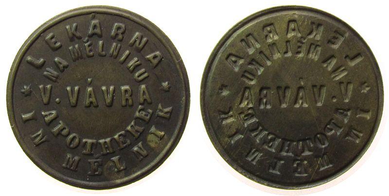 Klischee o.J. Tschechoslowakei Bronze Na Melniku Apotheke in Melnik - V.Vavra, ca. 27 MM vz