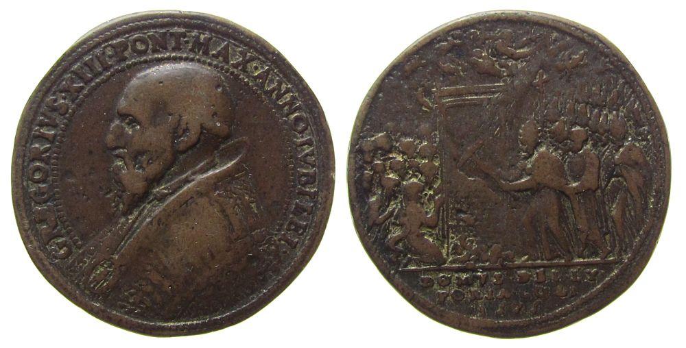 Medaille 1575 Vatikan Bronze Gregor XIII (1572-85) - auf das heilige Jahr, Brustbild nach links / Papst beim Öffnen der Heiligen Pforte, Signatur: FED gutes schön