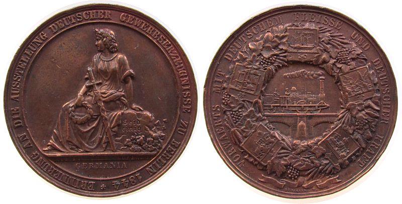 Medaille 1844 Berlin Bronze Berlin, auf die Ausstellung Deutscher Erwerbserzeugnisse in Berlin, Germania / Eisenbahn, von Loos D & Lorenz F., ca. 45 ss+