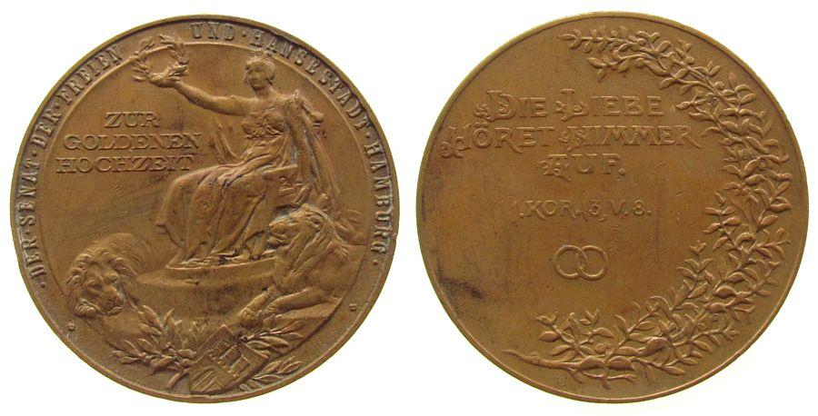 Medaille o.J. Hamburg Bronze Goldene Hochzeit - Ehrengabe des Senats, Stadtgöttin mit Lorbeerkranz - flankiert von zwei Löwen / Vers im Kranz und leer fast vz