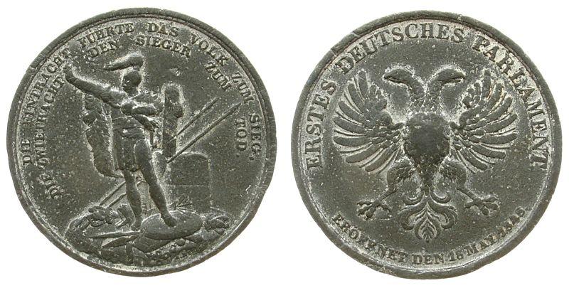 Medaille 1848 Frankfurt Zinn auf die Eröffnung des Parlaments in Frankfurt, stehender Armin mit Rutenbündel / ungekrönter Doppeladler, v. Neuss, ca. 41 ss