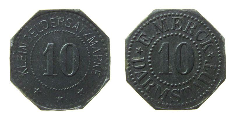 10 Kleingeldersatzmarke o.J. Jetons Zink Merck E. - Darmstadt, ca. 20,8 MM, etwas fleckig vz-stgl
