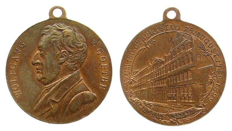 tragbare Medaille 1899 Frankfurt Bronze Goethe, Brustbild nach links / sein Geburtshaus in Frankfurt, v. Lauer, ca. 24 MM, Förschner -- vz