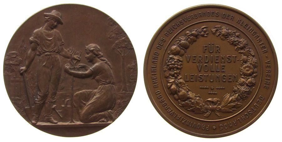 Medaille o.J. Landwirtschaft Bronze Kleingarten Verein Rheinland, für verdienstvolle Leistung, Ehepaar beim Pflanzen eines Bäumchens / Schrift, v. Oertel Ber vz