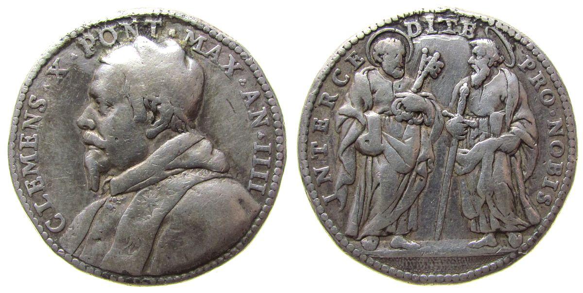 Medaille 1673 Vatikan Silber Clemens X (1670 - 1676) - auf den Beistand der Apostel, Brustbild nach links / Apostel Peter und Paul, unsigniert (v. Gir fast ss
