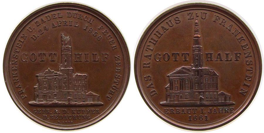 Medaille 1861 Städte Bronze Frankenstein und Zadel - auf den Wiederaufbau nach den Stadtbränden, Schlesien, das zerstörte Rathaus / aas Rathaus nach fast stgl