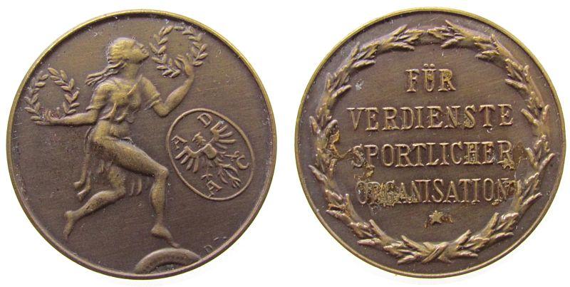 Medaille o.J. Automobile Bronze ADAC - für Verdienste, Signatur: D, ca. 33 MM, Kleberreste vz