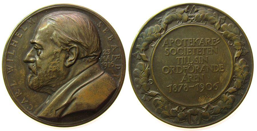 Medaille 1916 Schweden Bronze Sebarth Carl Wilhelm (1878-1906) - auf seinen 75. Geburtstag, Königlich Schwedischer Hofapotheker, Büste nach links / Sch vz