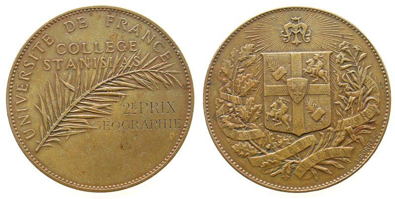 Preismedaille o.J. Frankreich Bronze College Stanislas (Paris), Palmzweig - 2. Preis in Geographie / Wappen der Schule, v. A. Borrel, ca. 41 MM ss