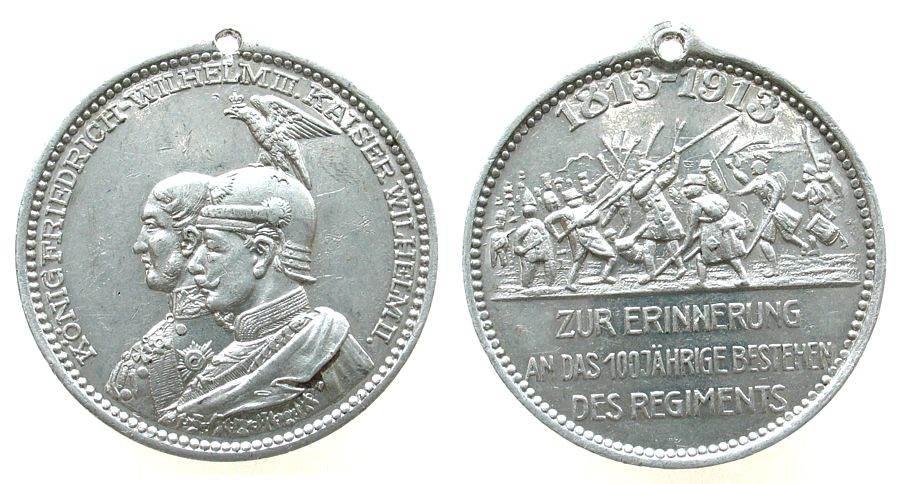 tragbare Medaille 1913 vor 1914 Aluminium Friedrich Wilhelm III und Kaiser Wilhelm II, Brandenburg - Preussen, beider Büsten nach links / Schlachtszene, zur Eri ss+