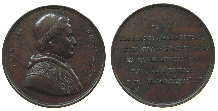 Medaille 1857 Vatikan Bronze Pius IX (1846-1878), auf seinen Besuch in den römischen Provinzen, unsigniert, ca. 58,8 MM, Randstoß, vz