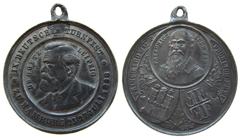 tragbare Medaille 1889 Sport Zinn Hamburg - 9. Deutsches Turnfest, Büste Dr. Goetz nach links / Brustbild Friedrich Ludwig Jahn über Wappen, v. Bergmann - Ha ss+