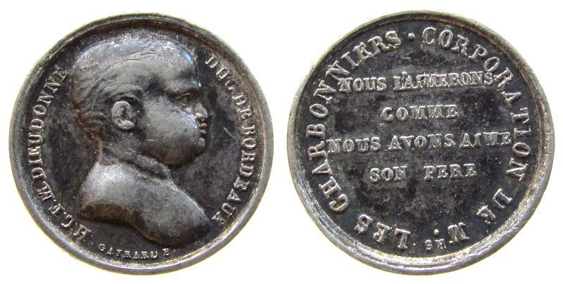 Miniturmedaille o.J. (1820) Frankreich Silber Louis XVIII (1814-1824) - auf die Geburt von Henri Duc de Bordeaux, v. Gayrard, ca. 17 MM ss