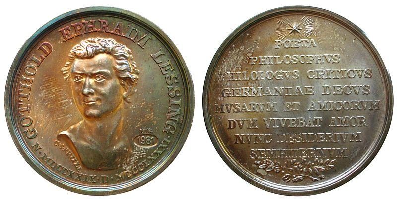 Medaille o.J. (1981) Personen Silber Lessing Gotthold Ephraim (1729-1781), Dichter, auf seinen Tod, v. Krull, ca. 40 MM, ca. 24.96 Gramm, NP 1981, Patina vz-stgl