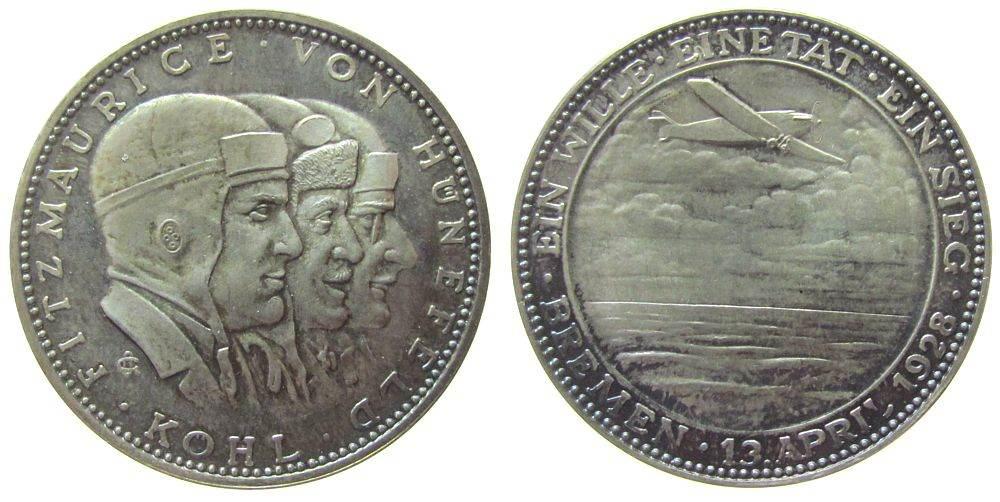 Medaille 1928 Luftfahrt Silber Ost-West-Ozeanflug des Flugzeuges