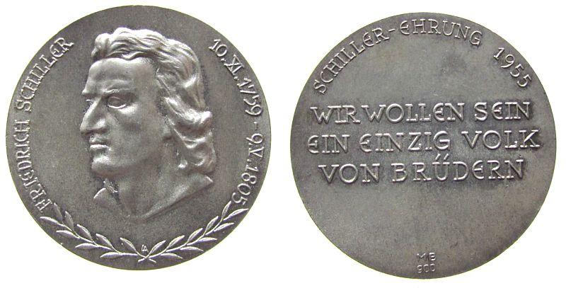 Medaille 1955 Personen Silber Schiller Friedrich (1759-1805) - auf seinen 150. Todestag, Büste nach links / Schrift, ca. 31,5 MM, mattiert vz-stgl