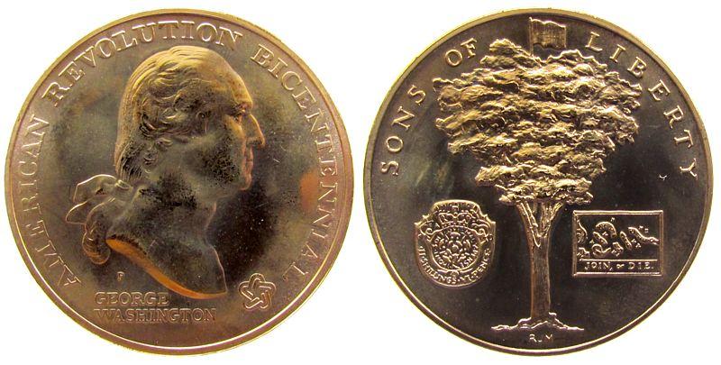 Medaille oJ USA Bronze Bürgerkrieg - George Washingston, Sons of Liberty - Baum, ca. 38 MM stgl
