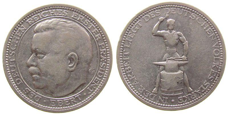 Medaille o.J. Weimarer Republik Silber Ebert Friedrich (1871-1925), Reichspräsident, auf seinen Tod, Büste nach links / Schmied mit Amboß, v. O. Glöckler, ca. 3 ss