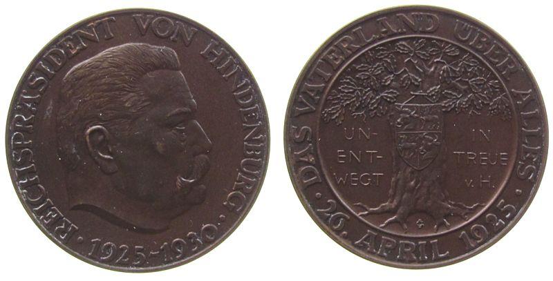 Medaille 1930 Hindenburg Bronze Hindenburg Paul von Beneckendorff (1847-1934), auf seine 5 jährige Präsidentschaft, Büste nach rechts / Eiche mit Familie fast stgl