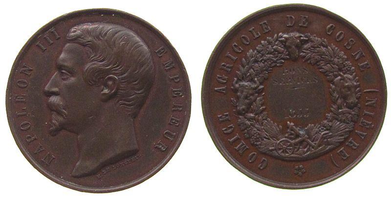 Medaille 1855 Frankreich Bronze Napoleon III - Prämienmedaille, für landwirschaftliche Leistung in Cosne, v. Longueil, ca. 36,4 MM, kleine Randfehler, Gr vz
