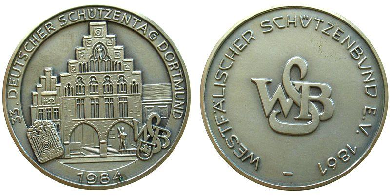 Medaille 1984 Schützen nach 1945 Silber Dortmund - 33. Deutscher ...