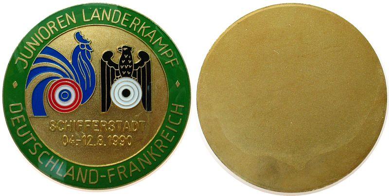 Plakette 1990 Schützen nach 1945 Messing teilemailliert Schifferstadt - Junioren Länderkampf Deutschland - Frankreich, ca. 70 MM vz-stgl