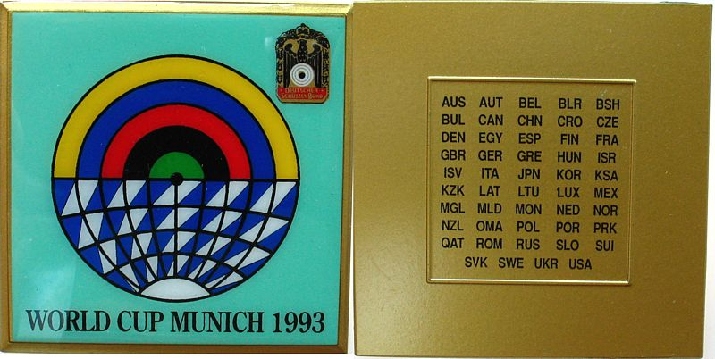 Plakette 1993 Schützen nach 1945 Messing teilemailliert München - Deutscher Schützenbund - Worldcup München 1993, Liste der teilnehmenden Länder, ca. 70,5 MM vz-stgl