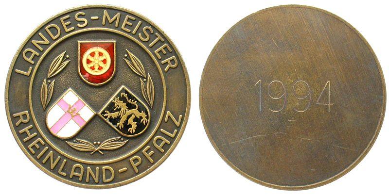 Teilnahmermedaille 1994 Schützen nach 1945 Messing teilemailliert Rheinland - Pfalz - Landes-Meister 1994 (Gravur), ca. 50 MM vz
