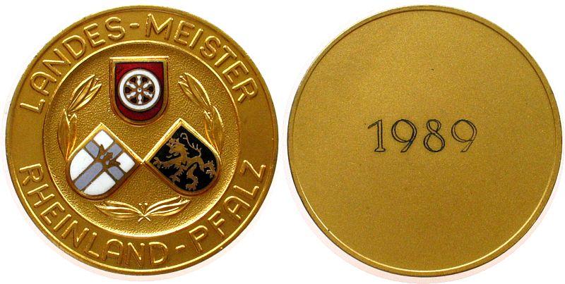 Teilnahmermedaille 1989 Schützen nach 1945 -- Rheinland - Pfalz - Landes-Meister 1989 (Gravur), ca. 50 MM vz-stgl