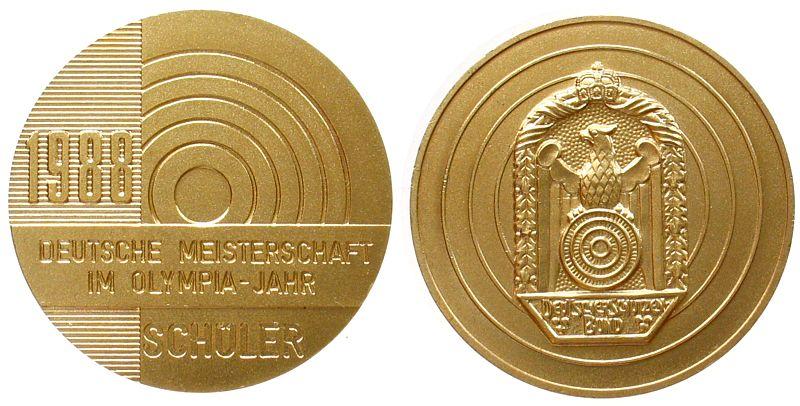 Teilnahmermedaille 1988 Schützen nach 1945 -- Deutsche Meisterschaft - Schüler, ca. 50 MM vz-stgl