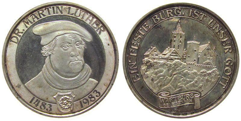 Medaille 1983 Reformation / Religion Silber Luther Martin (1483-1546), auf seinen 500. Geburtstag, Brustbild / Wartburg, ca. 35 MM, ca. 14,80 Gramm, Patina vz / pp