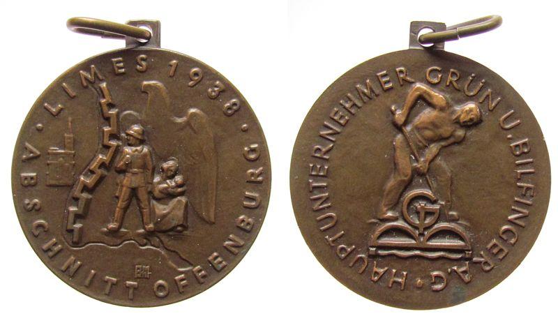 Medaille 1938 Drittes Reich Bronze Grün und Bilfinger - auf den Limesabschnitt Offenburg, Straßburger Münster, Befestigungslinie, Soldat und Mutter mit Kind prägefrisch