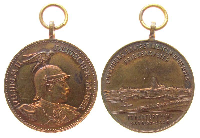 tragbare Medaille 1896 Frankfurt Bronze auf die Einweihung des Kaiser Wilhelm-Denkmals und die 25-Jahrfeier des Frankfurter Friedens, Büste Kaisers Wilhelm II na vz
