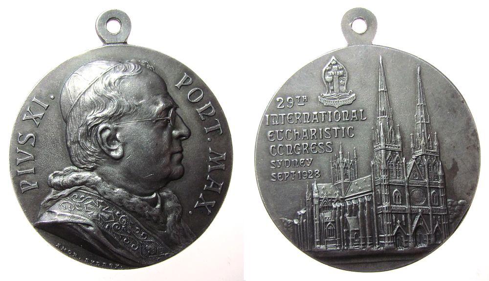 tragbare Medaille 1928 Australien Silber Pius XI (1922-1939) - auf den 29. Eucharistischen Kongreß in Sydney, Brustbild nach rechts / S.t Mary's Kathedrale, v. Am vz