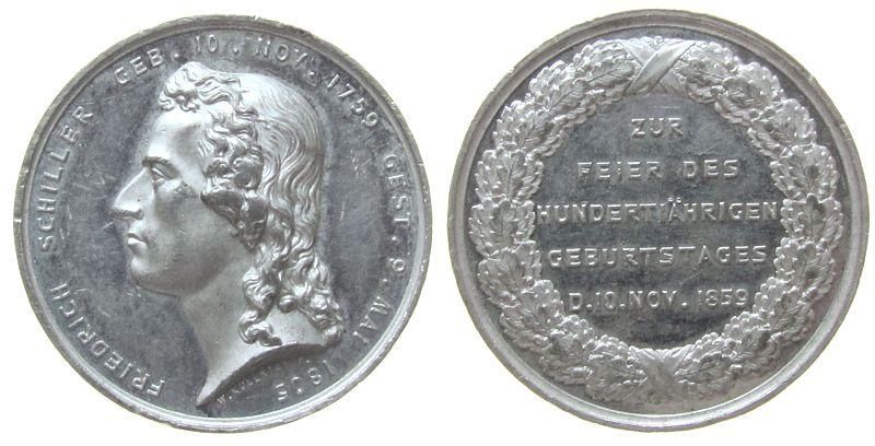 Medaille 1859 Personen Blei Schiller Friedrich (1759-1805) - auf seinen 100. Geburtstag, Büste nach links / Schrift im Kranz, v. W. Kullrich, ca. 30 MM ss-vz
