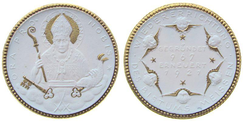 Spendenmedaille 1921 Porzellan Porzellan Meissen - Erneuerung des Bistums, ca. 48 MM prägefrisch