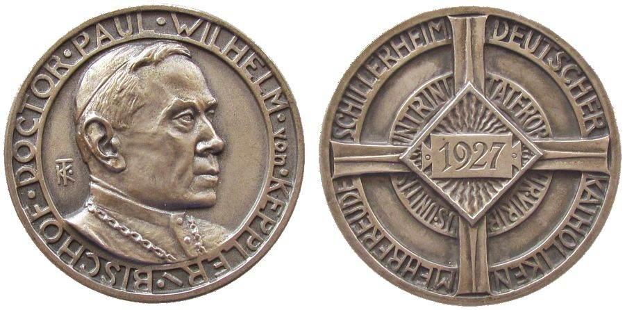 Medaille 1927 Reformation / Religion Silber Keppler Paul Wilhelm von (1852 +1927) - auf seinen Tod, Theologe und Bischof von Rottenburg, Signatur: KT, ca. 40,5 MM, c vz+